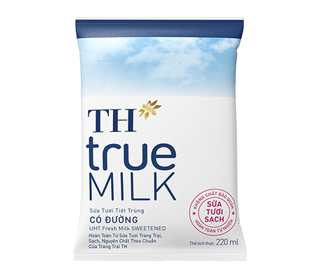 TH true MILK Sweetened fresh milk in paper bag 220ml