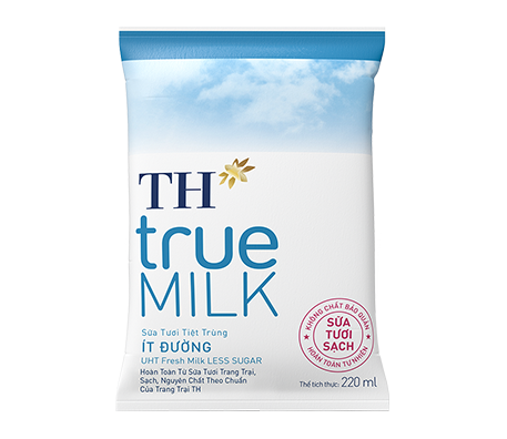 TH true MILK Less sugar fresh milk in paper bag 220ml